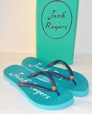 New $28 Jack Rogers Skye Flip Flops Caribbean Blue/Midnight Thongs Sandal Beach
