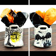 Mini Halloween Ceramic Gift Bag hand painted paper tote haunted cat vintage rare