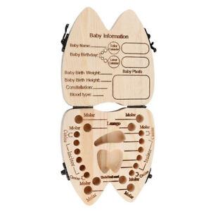 Baby Tooth Box Organizer Milk Teeth Wooden First Tooth Keepsake Storage Case