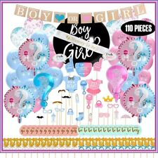 Baby Gender Reveal Party Supplies Kit - Updated Version - (110 Pieces) + Props