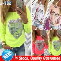 Womens Long Sleeve T-Shirt Sweatshirt Hoodies Casual Blouse Tops Pullover Shirts