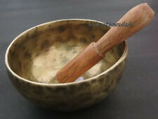 S413 Collectible 7 metal mix hand hammered Gift NOTE A singing bowl Mallet Tibet