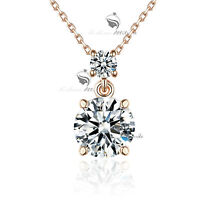 18k rose gold made with SWAROVSKI crystal pendant necklace drop classic 4ct