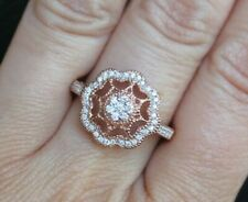 New S8 10K 1/3ct Real Diamond Filigree Flower Medallion Antique Ring Rose Gold