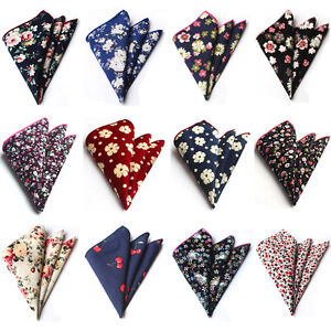 Men Cotton Colorful Flowers Floral Paisley Hanky Pocket Square Handkerchief
