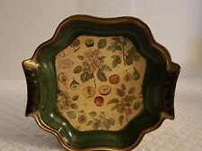 VINTAGE LACQUERED RESIN PLASTIC SERVING TRAY STILE OF FLORENCE ITALY GOLD TRIM