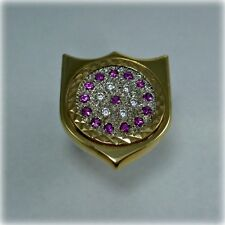 Unusual Red & White Cubic Zirconia Gold Shield Ring