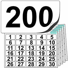Premium Plastic Numbered Stickers 1 to 200. Durable Waterproof Number Labels