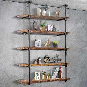 5 Tier Industrial DIY Pipe Shelf Shelves Bookshelf Rustic Brackets Wall Display