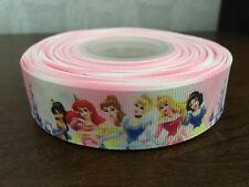 "1m Disney Princess Cinderella Snow White Belle Ariel Grosgrain Ribbon, 7/8"" 22mm"