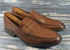 Clarks Collection Men's Slip-On Soft Cushion Brown Leather Penny Loafers 10.5 M