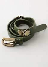 Nwt Anthropologie Linea Pelle Maya Hinged Hip Belt Sz S Green w Brass Hardware