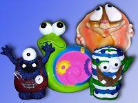Keramik Spardose, Sparbüchse, Sparschwein, Schnecke, Hund, Knopf Monster