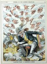 Framed 1892 Punch Watercolour Cartoon Harry Furniss 'Election Fever'