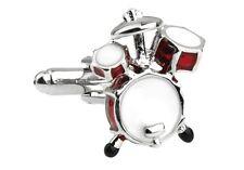Drum Pair Cufflinks Red Silver Drummer Drums Wedding Gift Box & Polishing Cloth