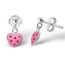 Children's 925 Sterling Silver Earrings- Pink Heart w/ Red Spot Heart Drop Studs