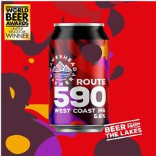 More details for  route 590 west coast hawkshead empty beer cans. brand name origin about 1200s