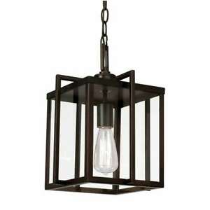"""Trans Globe Boxed 10"""" Pendant, Rubbed Oil Bronze & Clear Glass Panels - 10210ROB"""