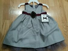 Wendy Bellissimo Tulle Bow Dress Size 12 M, grey, purple NWT $52, Spring Summer