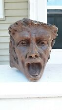 1800's - 19thc. Folk Art Wood Head Carving From Column Pillar > Great Find LOOK
