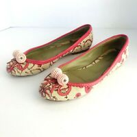 LAURA BRANDON ANTHROPOLOGIE  FLORAL CANVAS/LEATHER CROCHET BALLET FLATS SIZE 8