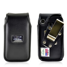 TracFone ZTE Cymbal T  Flip Phone Case Black Leather Metal Clip Turtleback