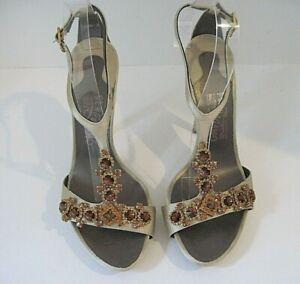 SALVATORE FERRAGAMO Gold Satin Jeweled Strappy Stilettos Heel Sandal Size 10 B