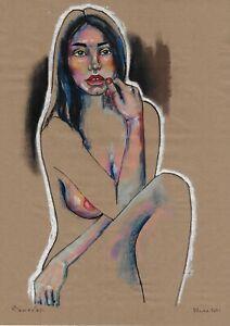 original drawing A3 555DO art by samovar Pastel modern female nude Signed 2021