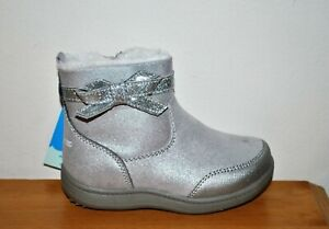 Stride Rite Girls' Elaine Silver Washable Memory Foam Boots - Size 7 Toddler