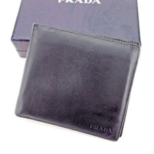 Prada Wallet Purse Bifold Logo Black Woman unisex Authentic Used T2301