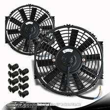 "2x Black 16"" High Performance Electric Cooling Pull Slim Radiator Fan For Nissan"