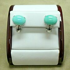 10k White Gold Turquoise and Diamond Earrings