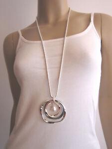 Damen Hals Kette lang Modekette Schmuck Silber Gold Perle Statement Lagenlook !
