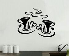 Coffee Cups Kitchen Sticker Wall Tea Vinyl Decal Art Restaurant Pub Decor Love