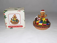 "AC MOORE TEDDY BEAR & TRAIN JAR TOPPER CANDLE WITH CORK BOTTOM 2 3/4"" WIDE"