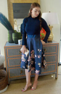 New Ted Baker London Seema Frill Neck Floral Print Dress Size 3,5