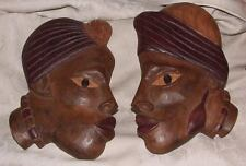 Vintage Pair Male Female Carved Wood African Heads Flat Back Profiles Signed