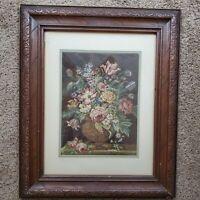 Vintage 1950s Italian Framed Tapestry Flowers in Vase 19x23 Inch Frame