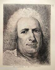 RARE GRAVURE EAU FORTE Adolphe LALAUZE portrait d'ap Latour 10,3x8cm cadre 45x32