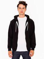NEW American Apparel Zip Hoodie Flex Fleece F497 Hooded Sweatshirt Black $36