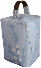 DOOR STOP Laura Ashley PUSSY WILLOW seaspray blue fabric ~ leather handle lounge