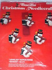 Vintage BUCILLA SNOWMEN Felt Applique CHRISTMAS Napkin Ring/Ornaments Kit
