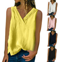 Womens Summer Solid Tops Shirt Casual V Neck Loose Sleeveless Blouse T Vest Tops