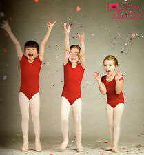 NWT CAPEZIO SHORT SLEEVE GARNET  LEOTARD COT/LYC CHILD SIZES BALLET DANCE RED