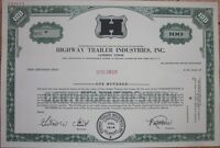 SPECIMEN Stock Certificate: 'Highway Trailer Industries, Inc.' - Green