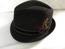 VINTAGE NEWPORT Men s Vintage Merino Felt Fedora Hat BLACK SIZE 6 ... a81c54df7902
