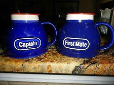 Captain & First Mate Feltman Langer No Spill  Mugs w/ Lids Nautical Navy MINT