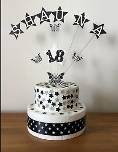 Cake Topper Decoration Personalised Butterflies Birthday All Ages Names Colours
