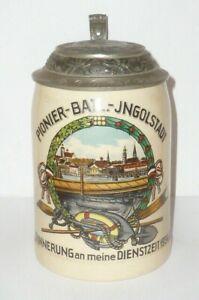 Alter Krug Reservistenkrug Bierkrug Stahlhelm Soldat 2.WK WH Pioniere Ingolstadt