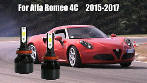 LED For Alfa Romeo 4C 2015-2017 Headlight Kit H9 6000K White CREE Bulbs Low Beam